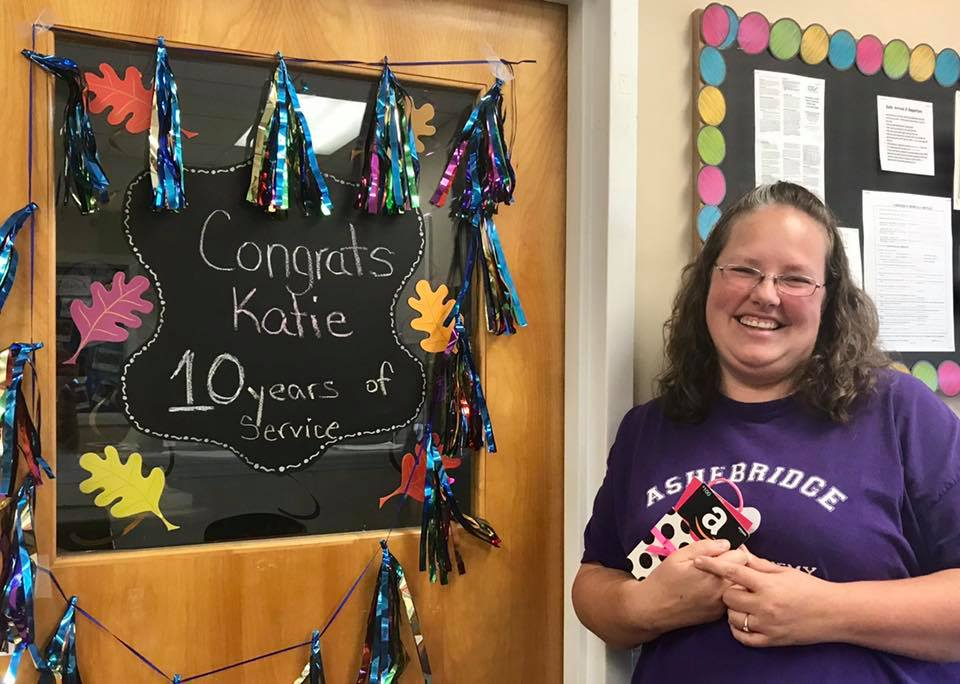 Katie happy and loyal teacher, 10 years in service at a Preschool & Daycare/Childcare Center serving Apex & Fuquay-Varina, NC